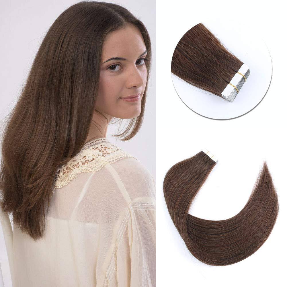 Sixstarhair Semi Permanent Tape In Hair Extensions Chocolate Brown Natural Hair Extensions Medium Brown Skin Weft Hair Extensions For Women [Color 4 Chocolate Brown 18 Inch] by Sixstarhair