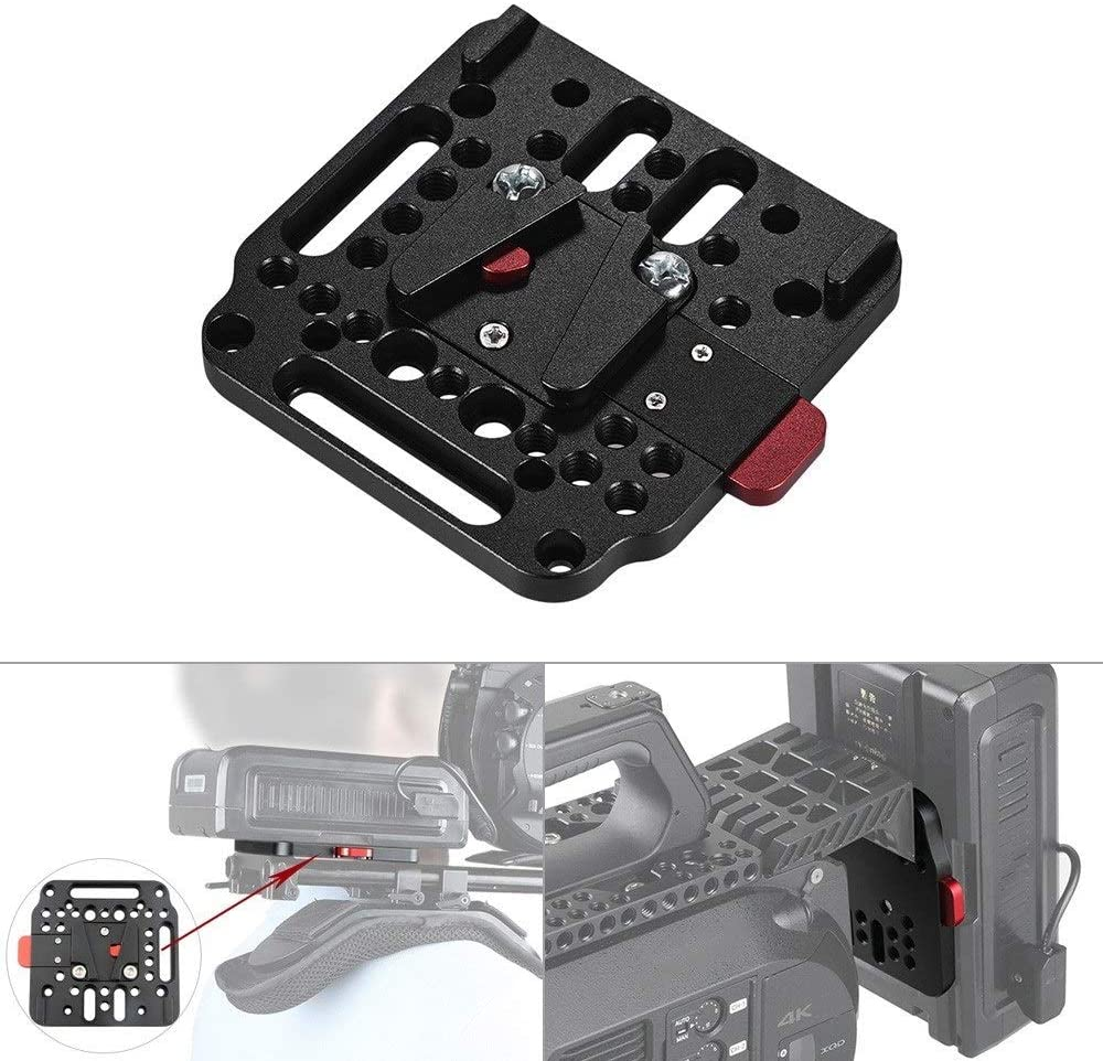 Color : Black Adjustable Camera Accessories Assembly Kit V Base Lock Quick Release Plate for Battery Mounting Universal Tripod Safe Adapter