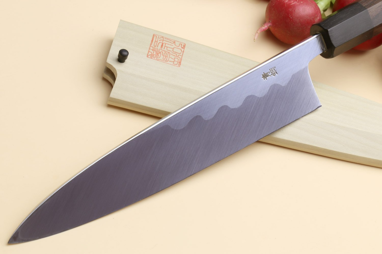 Yoshihiro Aonamiuchi Blue Steel #1 Mioroshi Filet Sushi Sashimi Japanese Chef Knife Shitan Handle (9.5'' (240mm)) by Yoshihiro (Image #2)