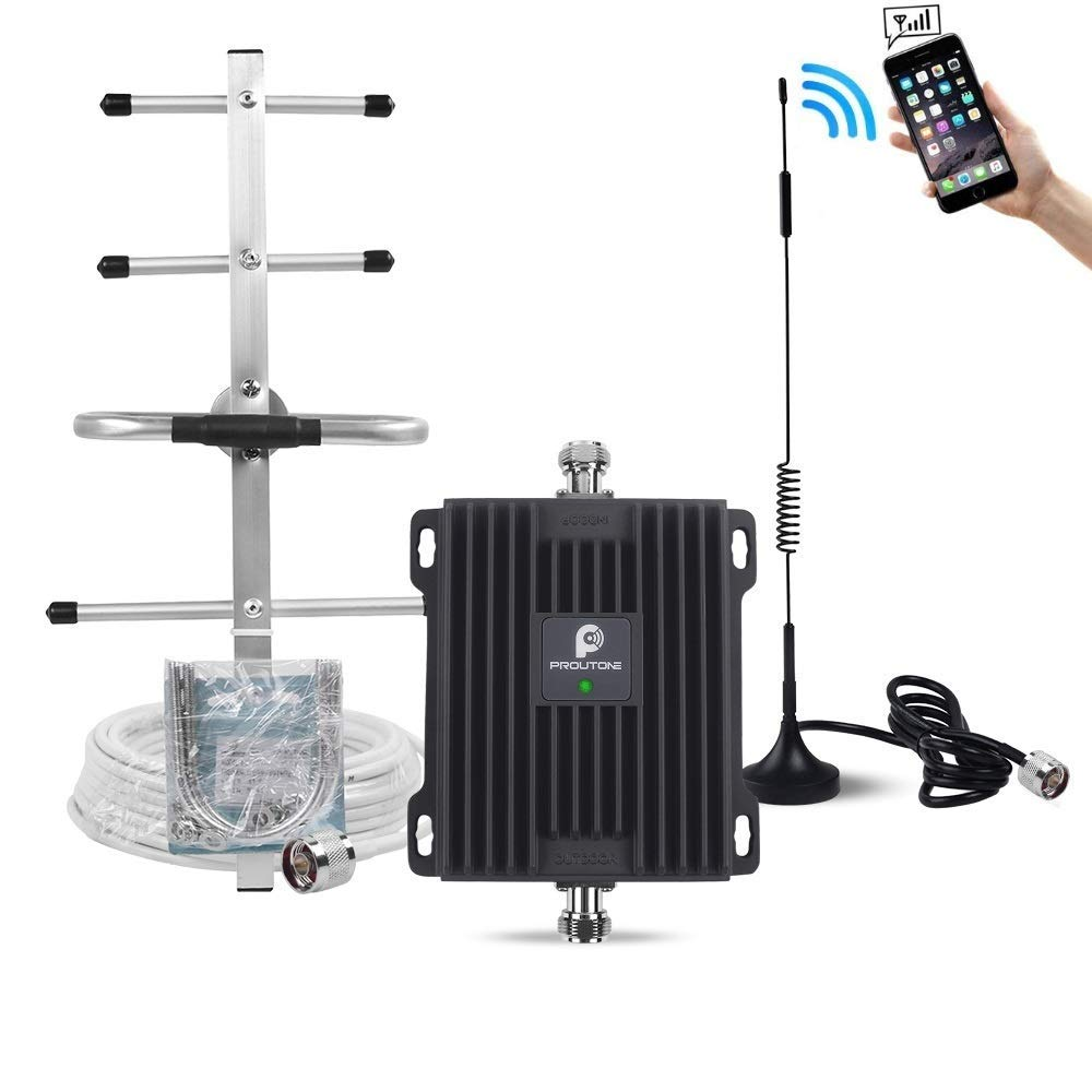 AT&T 4G LTE Cell Phone Signal Booster for Home and Office - 65dB 700MHz Band 12/17 Cellular Repeater Amplifier Kit with Omni/Yagi Antennas Boost Mobile Phone Voice & Data Signal(Easy to Install) by P PROUTONE