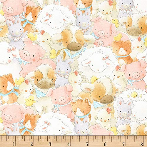 Timeless Treasures 0561323 Flannel Cotton Tale Packed Farm Animals Multi Fabric by The Yard, Multicolor