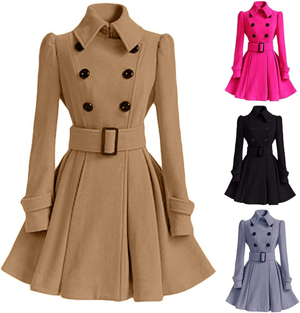 Auifor Frauen Windjacke Outwear Knopfverschluss Asymmetrische Hem Umhang Mantel