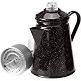 GSI Outdoors 8 Cup Enamelware Percolator Coffee Pot for Brewing Coffee Over Stove and Fire   Ideal for Campsite, Cabin, RV, Kitchen, Groups, Backpacking