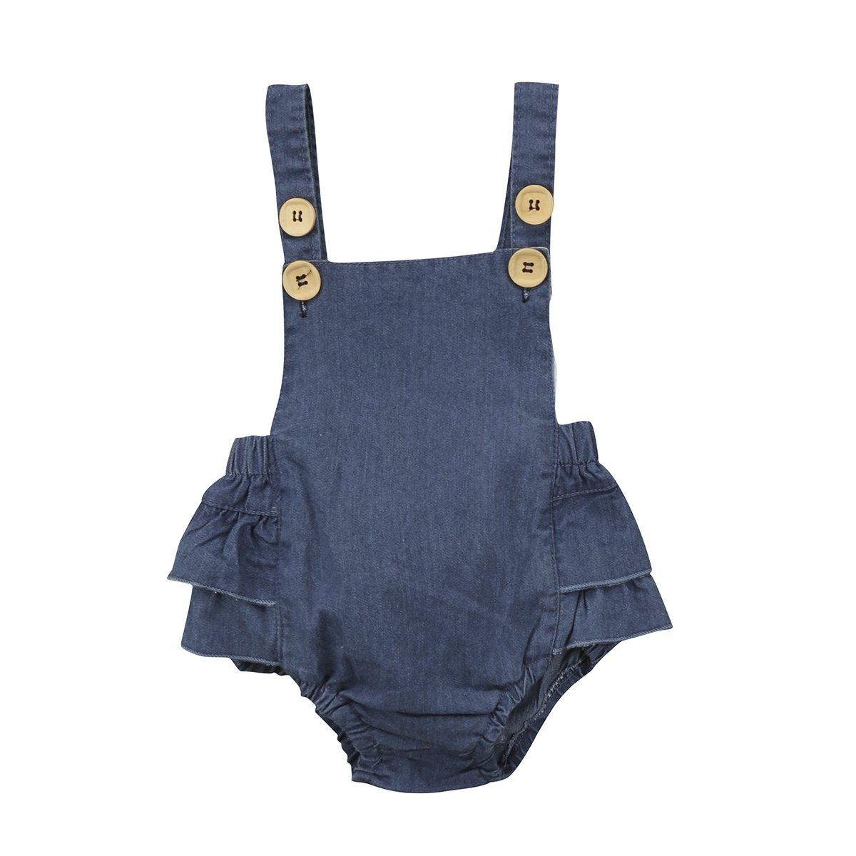 Imcute Toddler Baby Girls Ruffle Blue Jeans Romper Jumpsuit Buttons Outfit