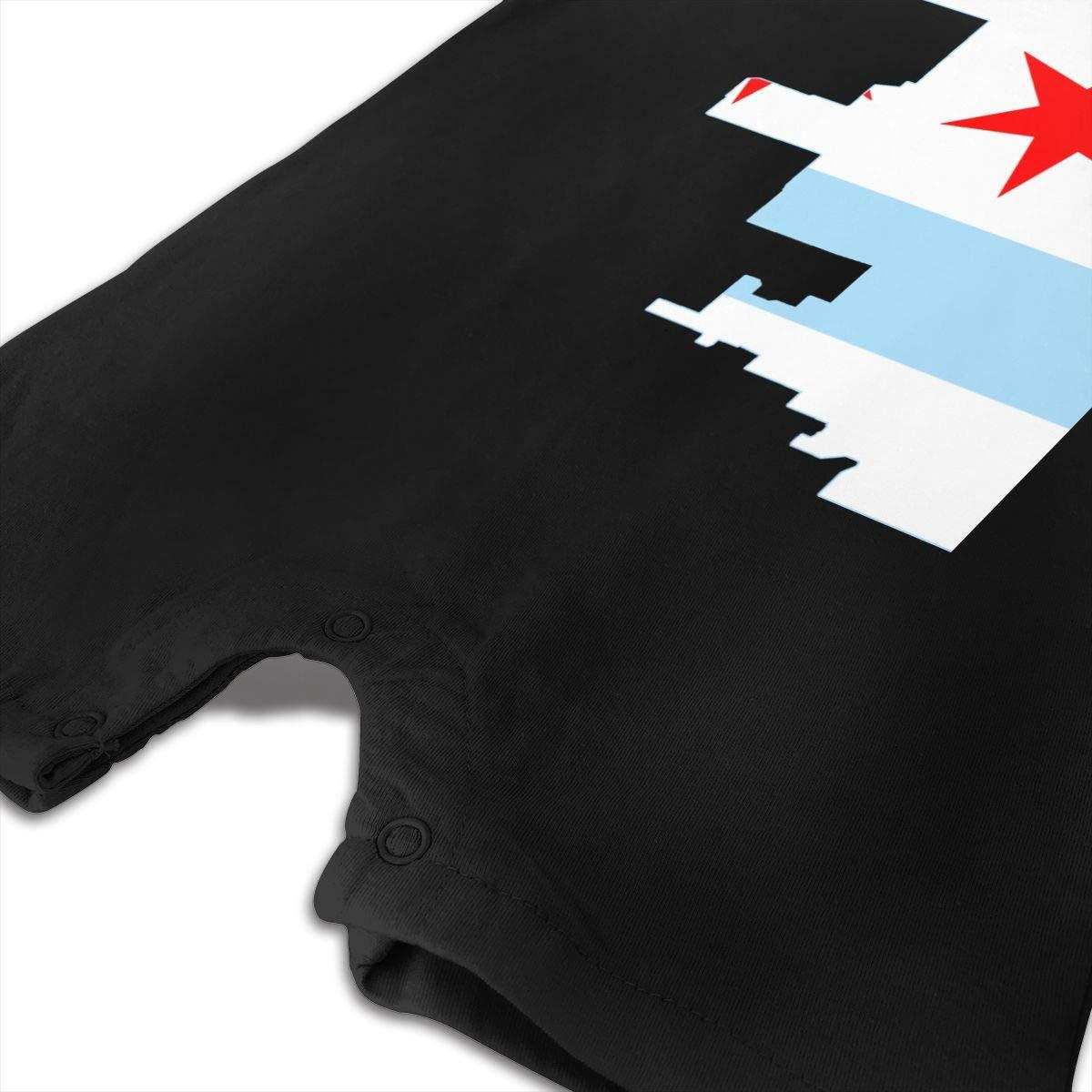 Simoner Baby Infant Boy Girl Short Sleeve Chicago Flag Jumpsuit Romper Pajamas Clothes Summer Outfits Black