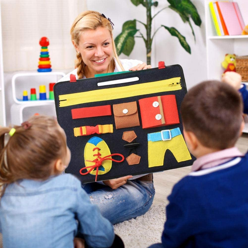 Druckknopf Rei/ßverschluss P/ädagogisches Spielzeug f/ür Fr/ühe Lernen Tragen Montessori Spielzeug Kleidung Lernbuch Filzbrett Kinderspielzeug mit Rei/ßverschlus zum Lernen Schnalle und G/ürtel