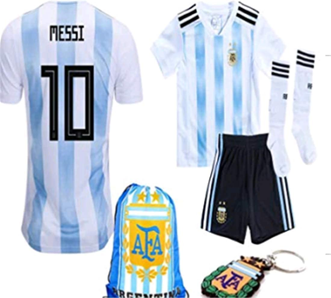 99d3d2f1d53 Amazon.com  LISIMKE 2018-2019 Home Messi  10 Argentina Kids Or Youth Soccer  Jersey   Shorts   Socks,Bag  Clothing