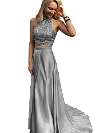 Royal Blue Prom Dresses Two Pieces New Style Slit Prom Gowns - Silver -