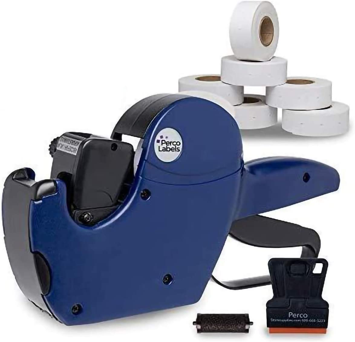 Perco 2 Line Date Gun Labeler Kit: Includes 16 Digits Label Gun, 10, 500 White Labels, Inker Remover Tool, and Pre-Loaded Ink Roll : Office Products