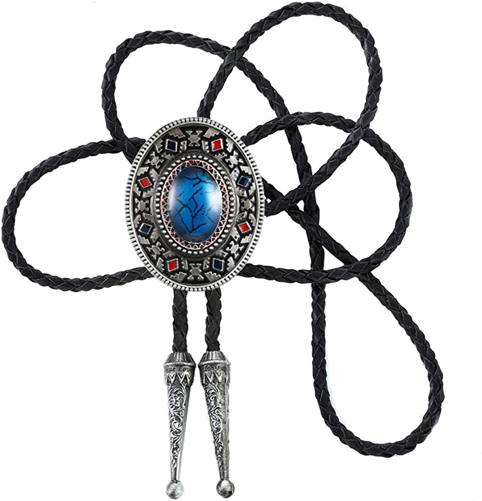 KDG Nature Agate Triangle Shape Western Cowboy Celtic Black Stone Bolo Tie Necktie For Men