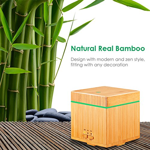 URPOWER Bamboo Essential Oil 300ml Ultrasonic Cool Aromatherapy Diffuser Auto Shut-off, Color LED Lights Timer
