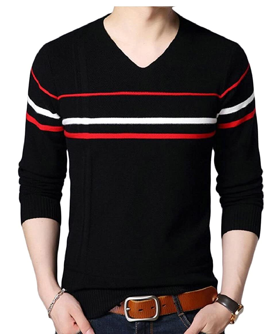 xiaohuoban Men Slim Fit Basic Knitted Long Sleeve V-Neck Pullover Sweaters