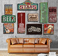 NEWNESS WORLD TAURUS Creative and Retro Style Wood Hanging Painting Plaque Wall Decoration for Home/Coffee Shop/Bar/Pub 40 by 40cm