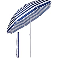Sekey® Parasol Ø 160 cm inclinable pour Patio Jardin Balcon Piscine Plage Rond Sunscreen UV20+