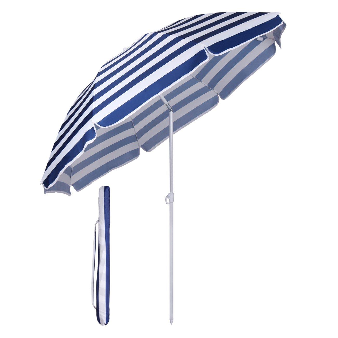 Sekey - Ombrellone Parasole, Diametro di 160 cm, Protezione Solare UV20+, Colore: Blu e Bianco, a Strisce, Ideale per Giardini, balconi e terrazze