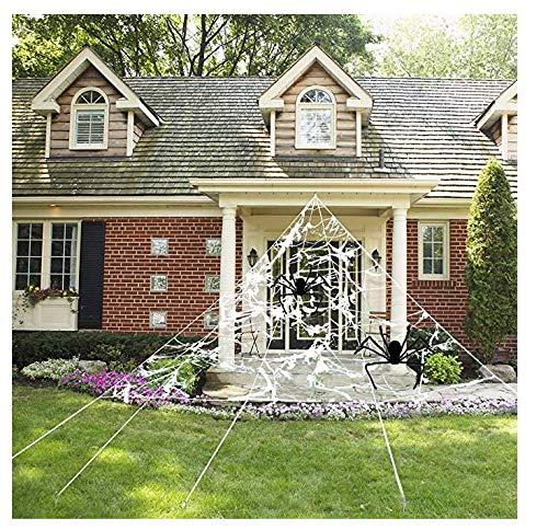 Beschoice 23 x 18 FT Spider Web with Super Stretch Cobweb Set, Halloween Decorations Outdoor Yard, White, 23 x 18 Feet