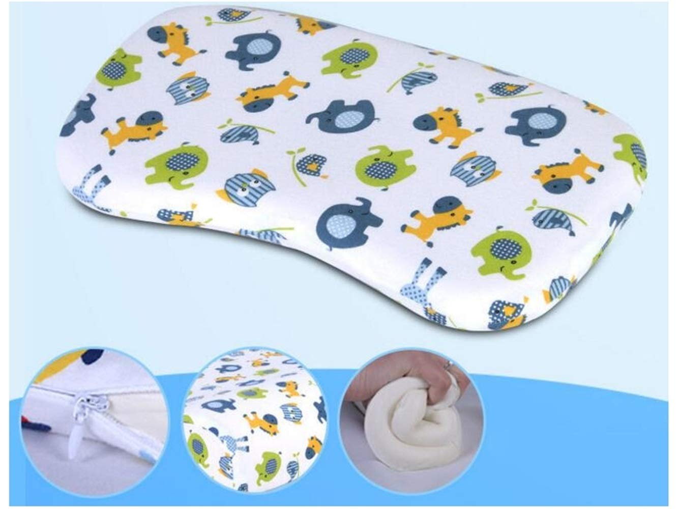 Wesource Lightweight Baby Pillow New Born Baby Cotton Pillow and Neck Suppor Sleeping Cushion(Animal)
