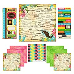 Proudly made in the usa, scrapbook customs paradise scrapbook kits are perfect for scrapbooking your favorite vacation photos. Kit includes four background papers and four paradise word papers. It also includes a paper cut out alphabet with 1...