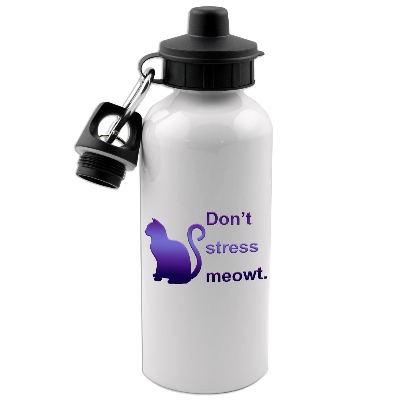 Don't Stress Meowt 20 Oz White Aluminum Water Bottle Decal Serpent