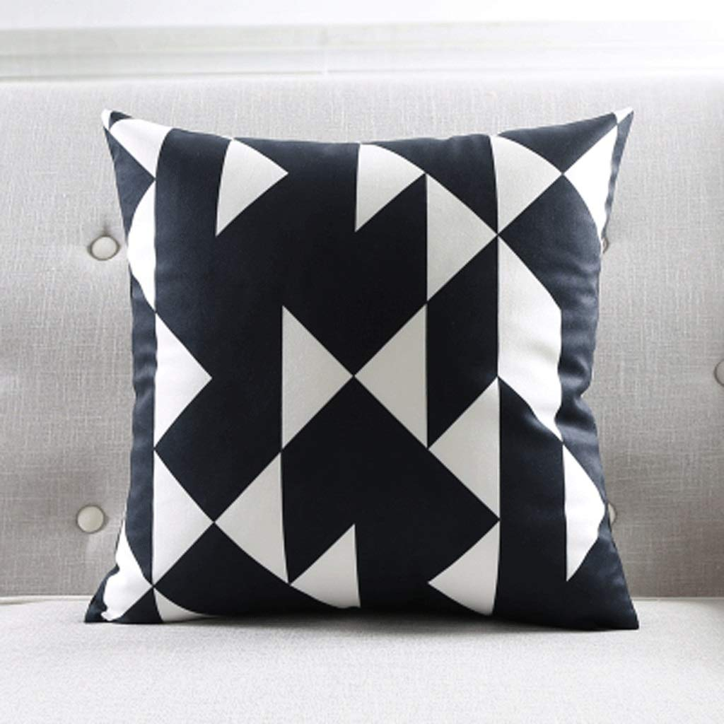Chx Geometric Striped Sofa Pillow Suede Simple Black and White Cushion Model Room Pillow (Color : A4, Size : 55×55cm (Pillowcase+core))