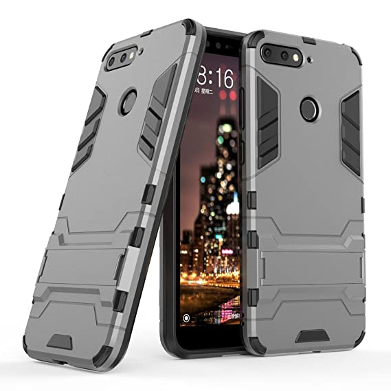 sports shoes 1948d ad9a2 Huawei Y6 (2018) Case, Huawei Y6 (2018) Hybrid Case, Dual Layer Shockproof  Hybrid Rugged Case Hard Shell Cover with Kickstand for 5.7'' Huawei Y6 ...