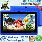 8GB MID Tablet PC Allwinner A33 QUAD CORE 7 Inch Android 4.4 KitKat Multi Touch Screen G-Sensor suported New!! (Blue)