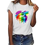 Women T-Shirt Casual Summer Short Sleeve Tee Letter Print Loose Blouse Tops