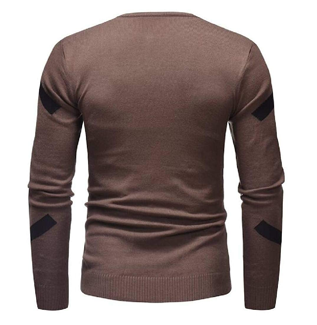 UUYUK Men Long Sleeve Crew Neck Slim Print Pullover Knitted Sweater