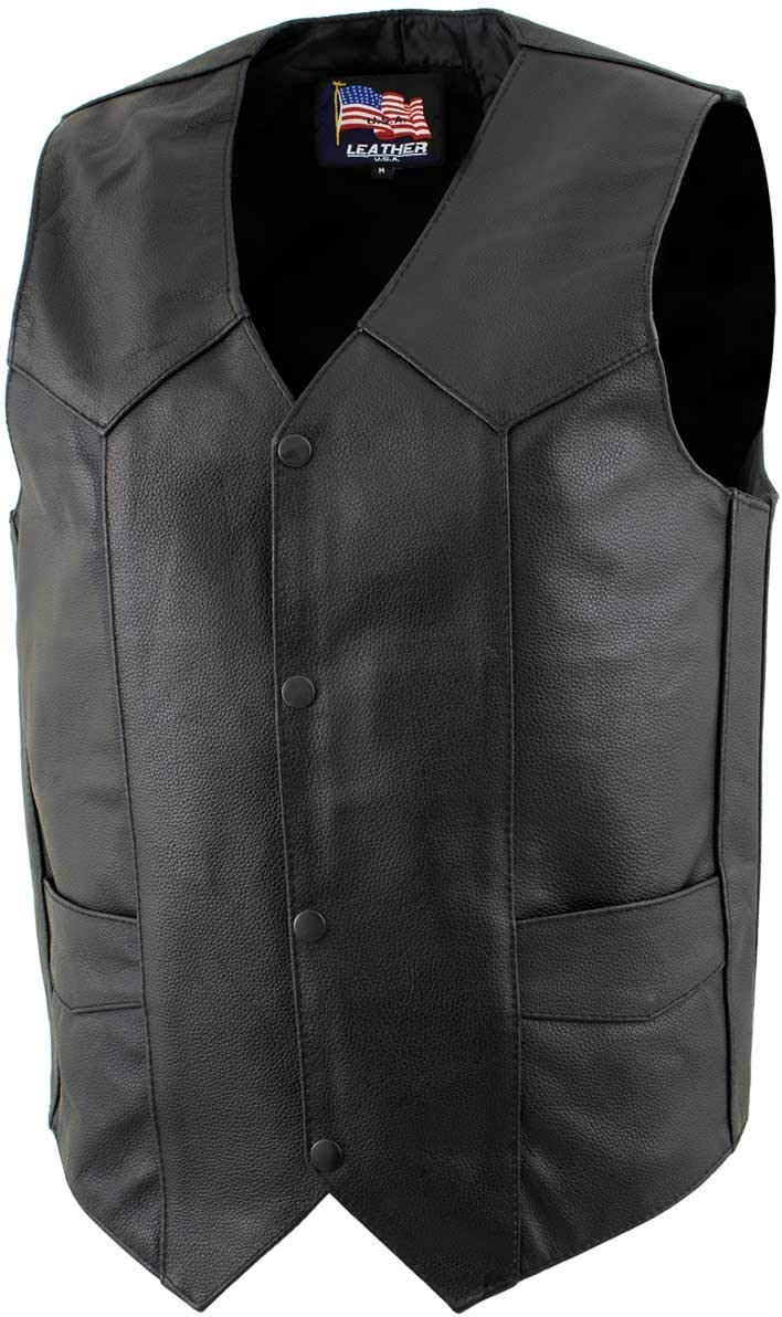 USA Leather 1201 'Club' Men's Black Leather Vest - 4X-Large