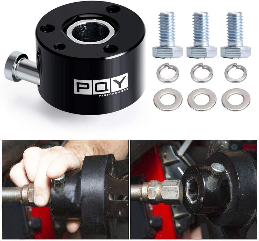 PQY 360/° Quick Release Steering Wheel Hub Black 3//4 Inch Aluminum Steel Adapter 3 Bolt Steering Wheel
