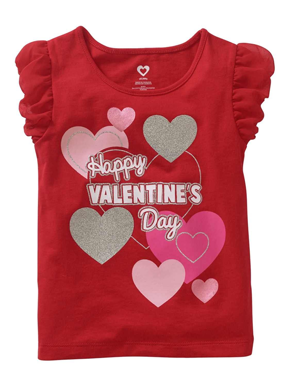 Heart Toddler Girls Red Glitter Happy Valentines Day T-Shirt Tee Shirt