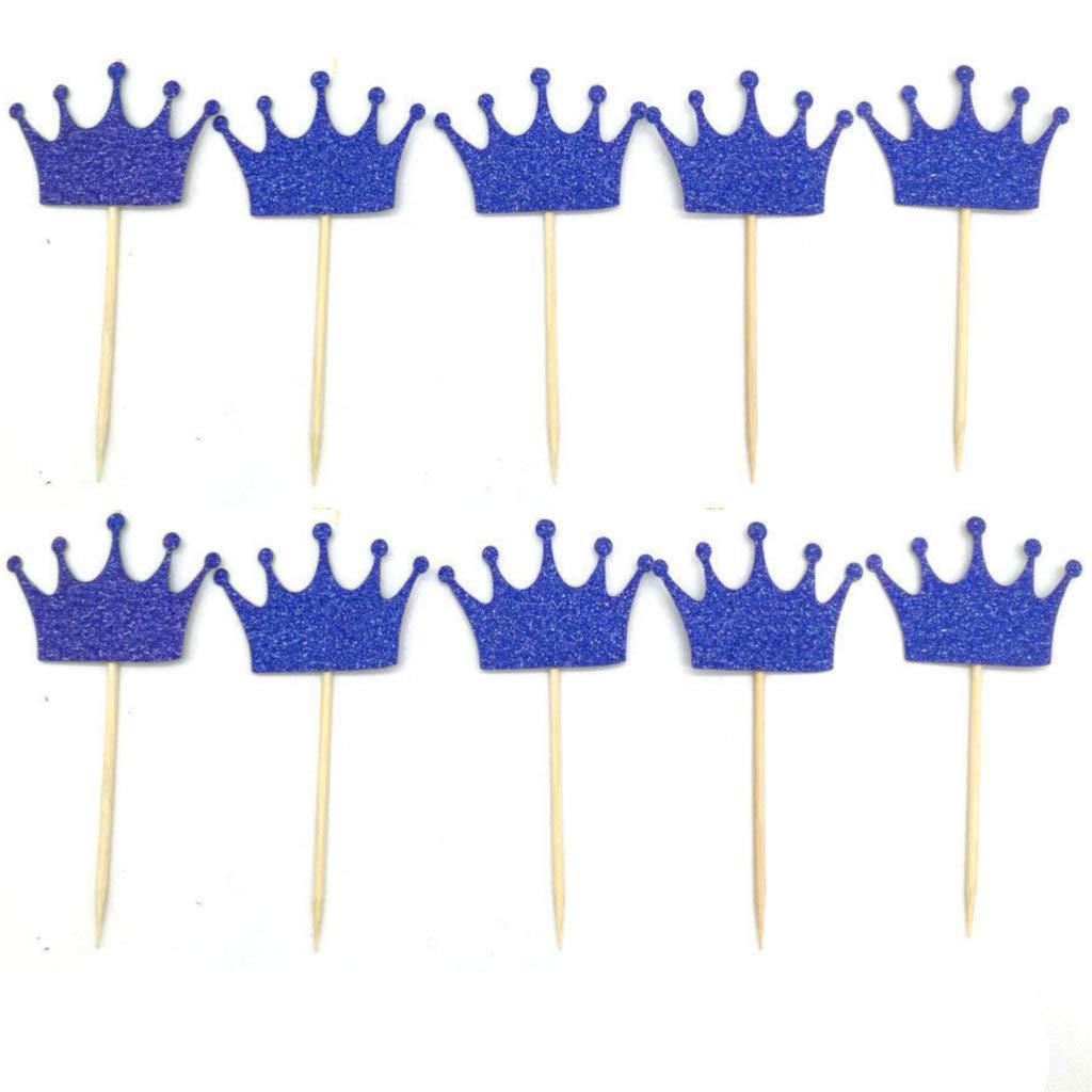 Royal Blue Prince Crown Glitter Gold Cupcake Toppers Picks for Wedding Birthday Baby Shower Boys Party Decorations 40 PC