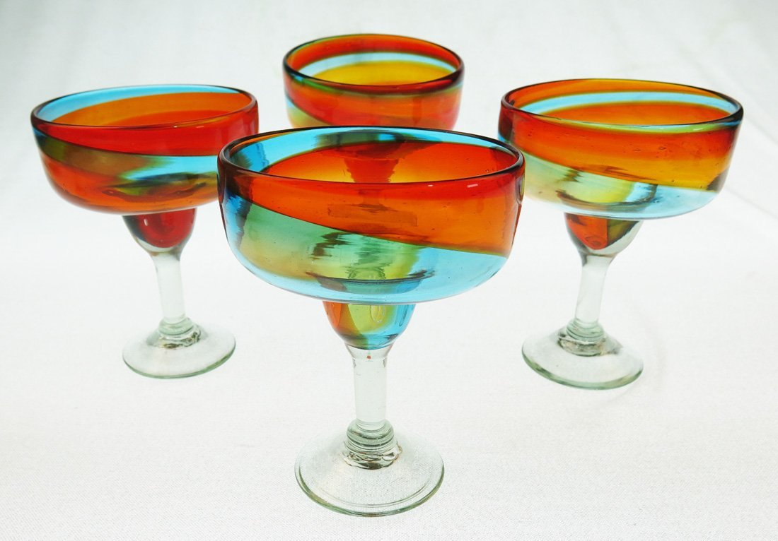 Mexican Margarita Glasses, Hand Blown, Rainbow colors 18 Oz (Set of 4)
