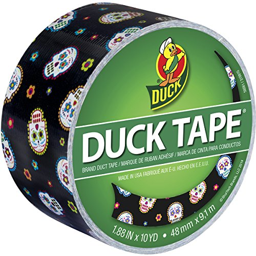 Duck Brand 283931 Printed Duct Tape, Sugar My Skull, 1.88 Inches x 10 Yards, Single Roll ()