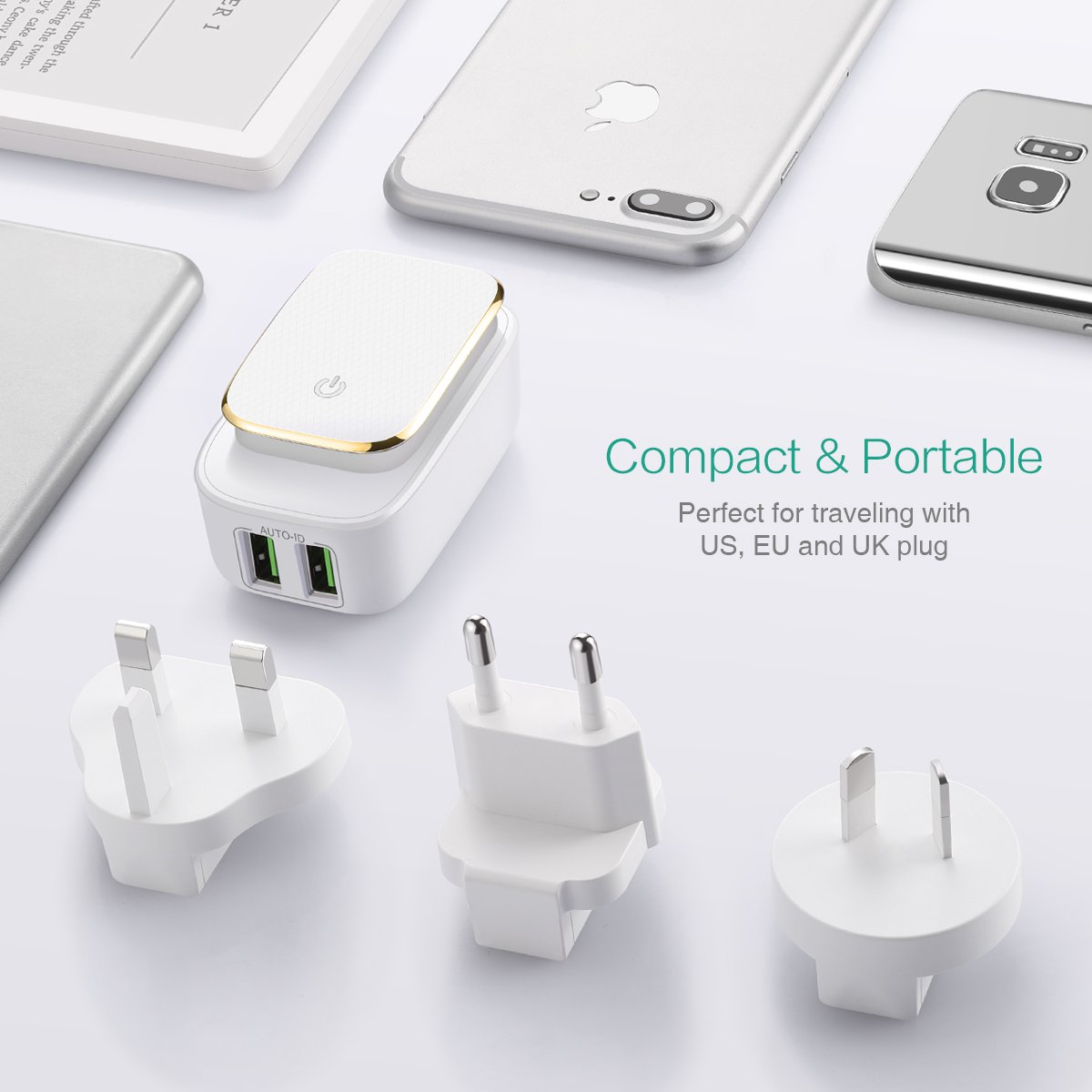 Tablet PC etc. Smart Phones /&Other Digital Cameras iPad 3 Interchangeable UK//AU//EU Plug for iPhone 12W//2.4A Wall Charger with LED Touch Night Light 2 USB Ports Plug Charger Oria Travel Adapter