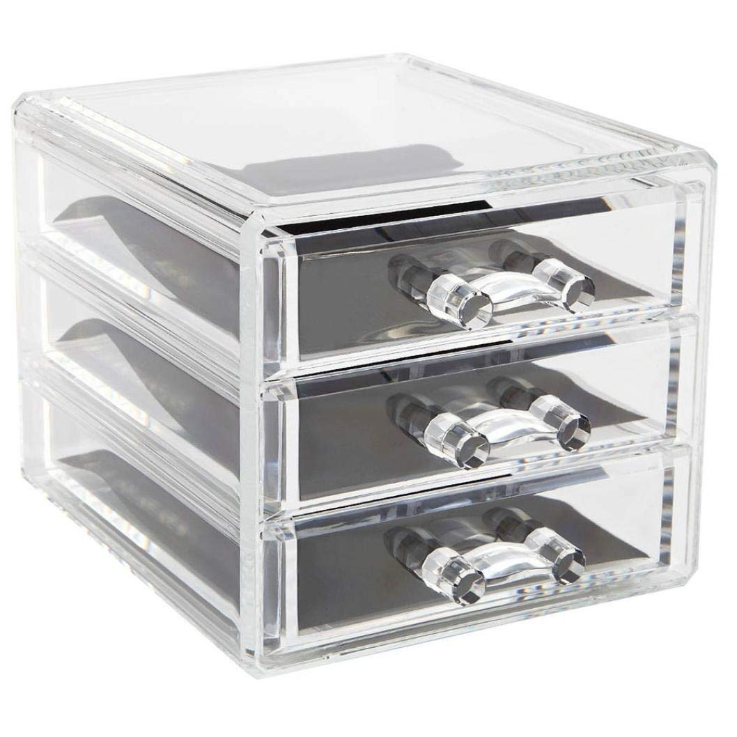 MiniPoco New Clear Acrylic Desktop Cosmetic Storage Organizer Box 3 Drawers Makeup Cases by MiniPoco Tech