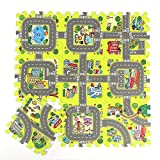 """BELUPAI BELUPAI Road Rally Play Foam Floor Tiles for Kids, 35""""x35"""" Large 9 Piece Interlocking Foam Mats Soft Alternative to Race Track Rug, Perfect Hot wheels Mat or Other Toy Cars"""
