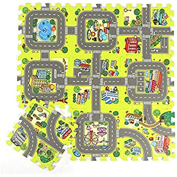 Amazon Com Road Rally Play Foam Floor Tiles For Kids