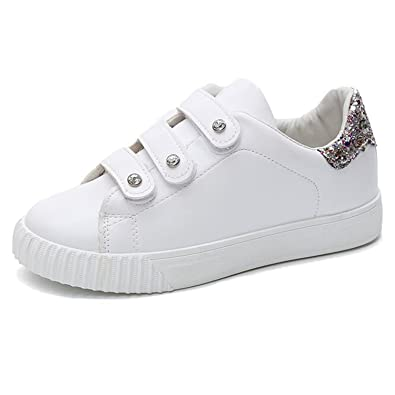 Feilongzaitianba Wome Flats White Sneakers Shoes Women Trainers Walking Sequins Zapatillas Mujer Casual Size 35-