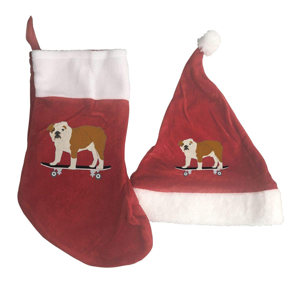 a68a8184509 Amazon.com  QiiRy Skateboard Funny Dog Personalized Santa Stockings and Xmas  Hat Gifts Set  Home   Kitchen