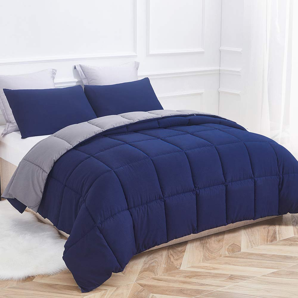 Decroom Comforter, Down Alternative Quilted Duvet Insert Queen,Moisture-Wicking Treament,Light Weight and Soft for All Season Comforter Navy Blue/Grey, Queen