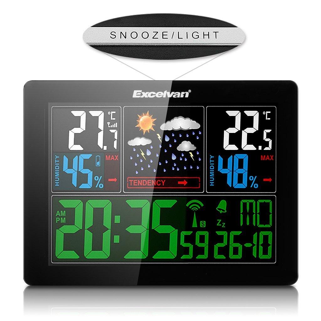 Excelvan Horloges Stations M/ét/éo avec /Écran LED Int/érieure//Ext/érieure Sans Fil avec Capteur ext/érieur Barom/ètre avec Alarme