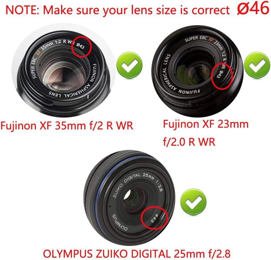 2 Pack JJC 43mm Center Pinch Front Lens Cap Cover with Elastic Lens Cap Keeper for Fuji Fujifilm XF 35mm f2,XF 23mm f2,Canon EF-M 22mm f2,EF-M 32mm f1.4 and More Lenses with 43mm Filter Thread