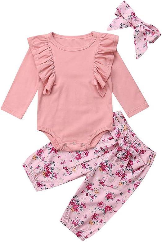 Baby Girl Outfit Long Sleeve Romper Bodysuit Ruffle Pants Legging Tops Headband