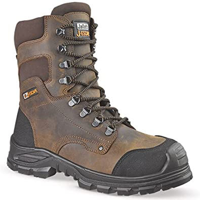 8e7964d144e Jallatte Jalsequoia JJE42 Brown Full Grain Leather Hi Leg Steel Toe Mens  Lace Up Boots
