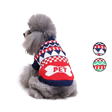 Amazon 2 Patterns Knitted Dog Sweater Weave Bone Shape Dog