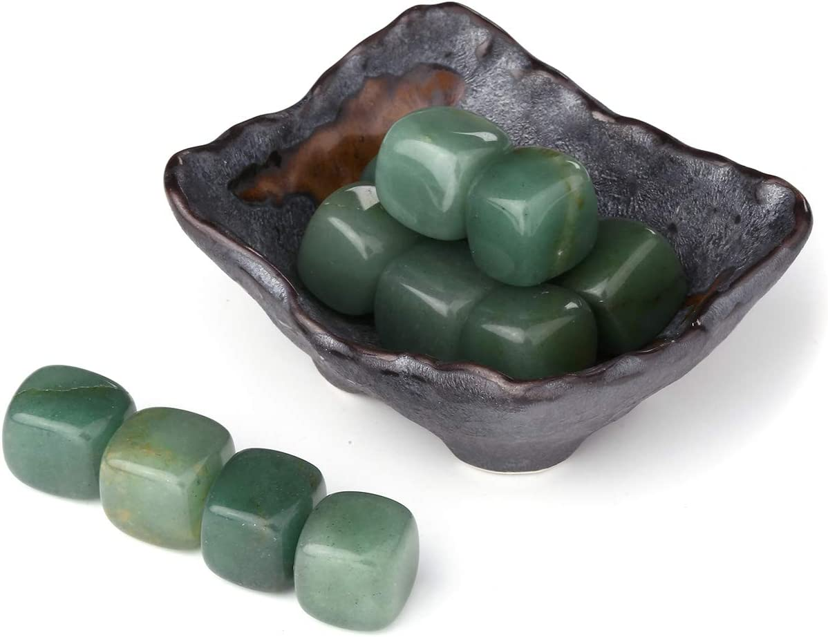 Top Plaza Tumbled Polished Stones Healing Crystals Natural Aventurine Gemstone Quartz Bulk with Square Ceramic Bowl Home Decor for Wicca Reiki Healing Energy - 12 Pcs Stones