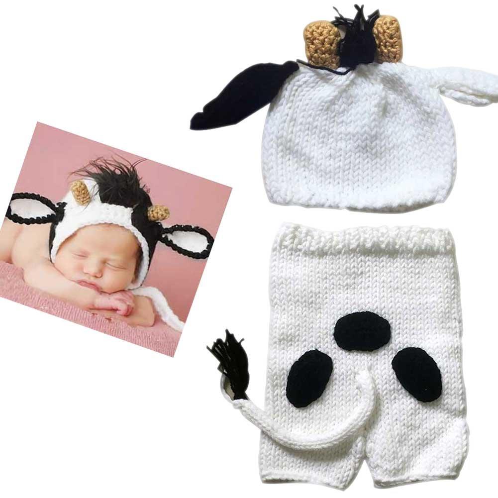 Hrph neonato crochet costume fotografia puntelli berretto a maglia + pantaloni set neonato foto puntelli carino mucca animale
