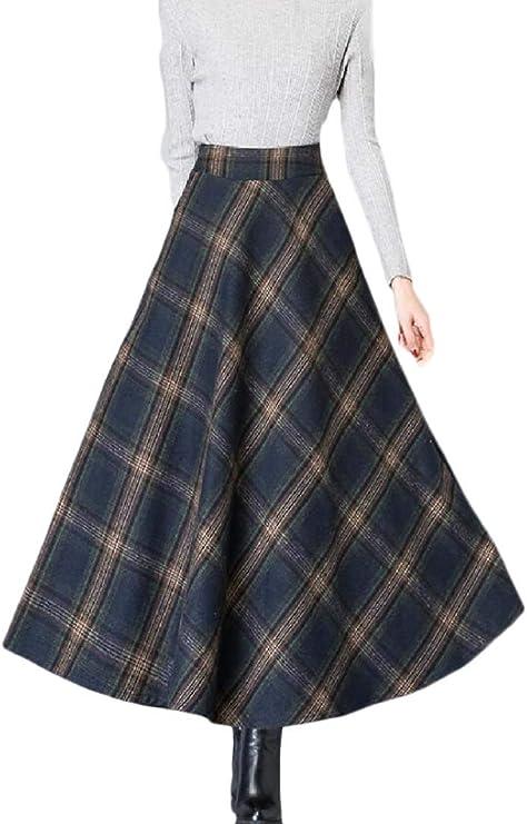 securiuu Falda de Lana de Cintura Alta para Mujer, Falda de ...