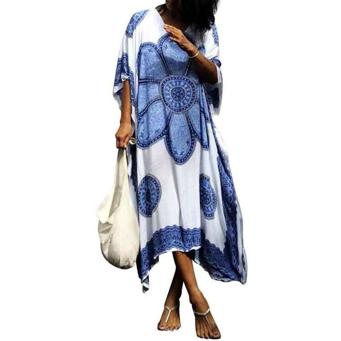 Women Swimsuit Smock Cover Up Ethnic Print Kaftan Beach Dress Clearance SWPS